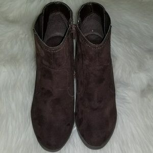 Shoes - Brown Ankle Boots Suede Like Material